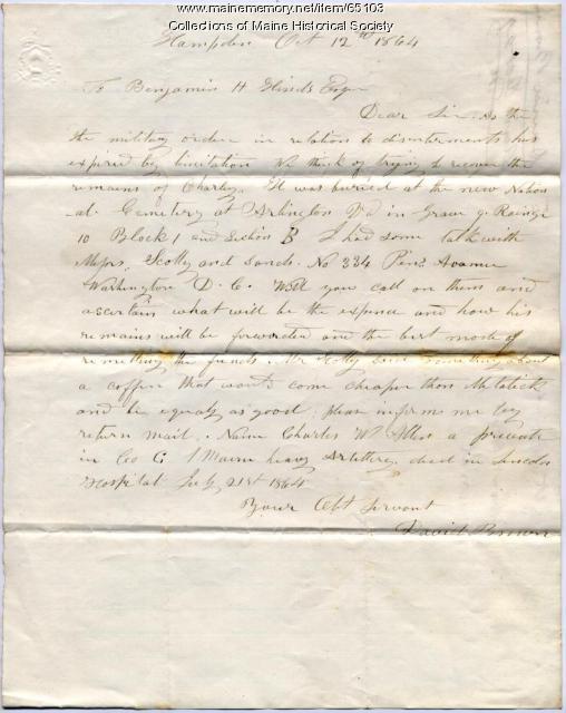 Letter concerning reburial of soldier, Hampden, 1864