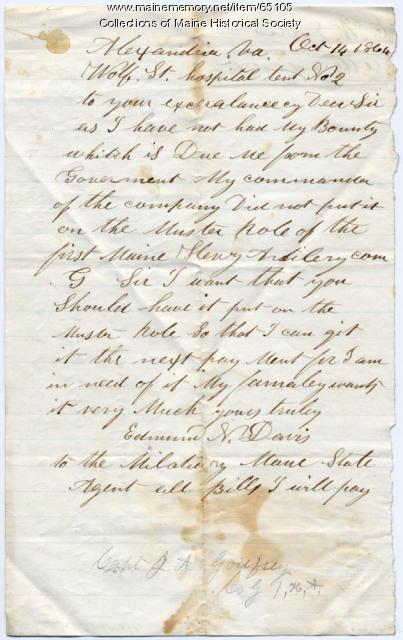 Letter seeking bounty pay, Virginia, 1864