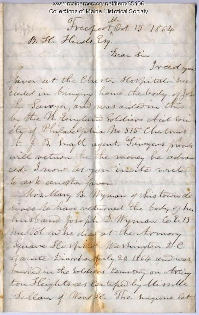 Request for information on reinterring soldier, 1864