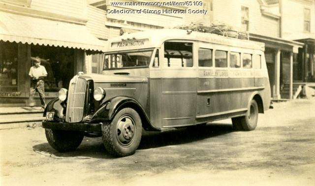 Triangle bus awaits riders, Strong, ca. 1938