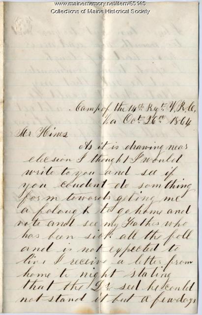 Alonzo Fogg request for leave, Virginia, 1864