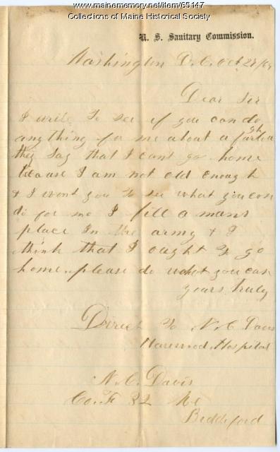 Underage soldier request for furlough, Washington, 1864