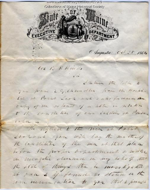 Gov. Cony letter about hospital conditions, Augusta, 1864