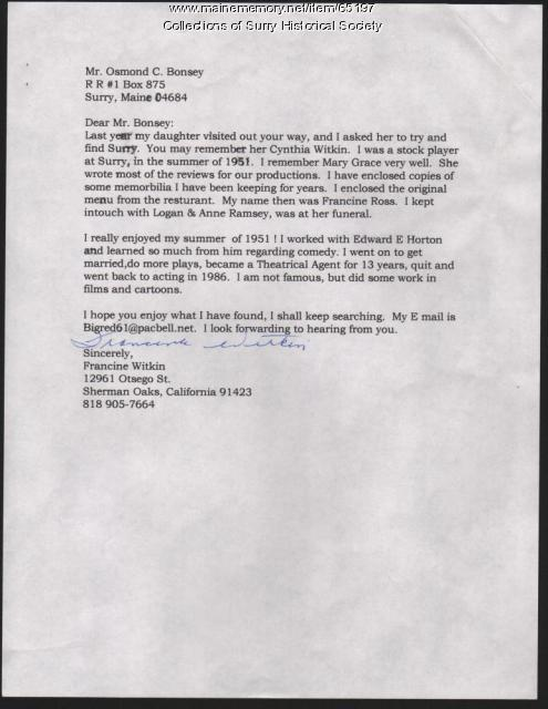 Letter to Osmond C. Bonsey from Francine Witkin, Surry, ca. 1990