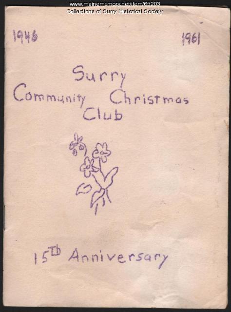 Community Christmas Club program cover, Surry, 1961