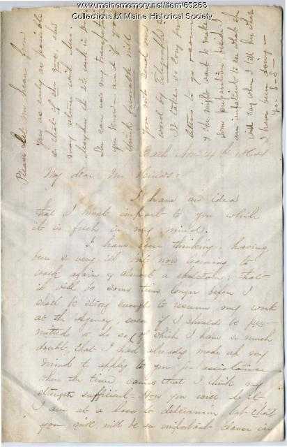 Sarah Sampson letter on illness, Bath, 1864