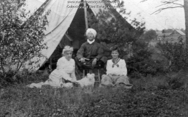 Three people at Green Acre, Eliot, ca. 1900