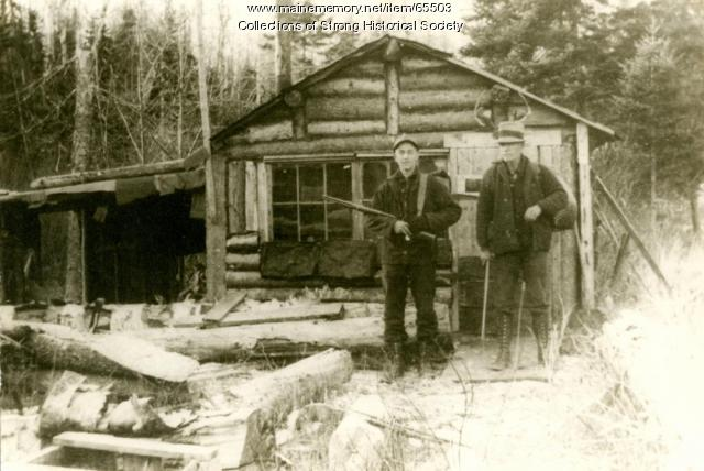 Hunting camp on Day Mountain, Strong, ca. 1940