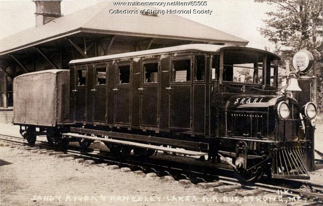 Railbus No. 4 at the railroad station, Strong, ca. 1930