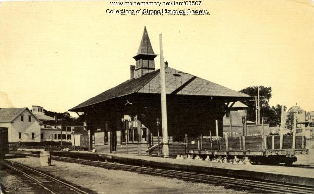 Railroad station, Strong, ca. 1910