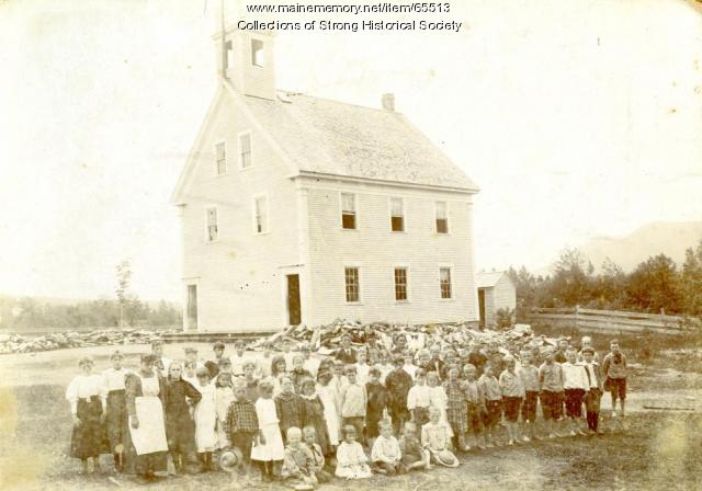 Village School student body, Strong, ca. 1895