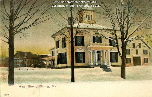 Hotel Strong, with Forster Toothpick Mill beyond, Strong, ca. 1905