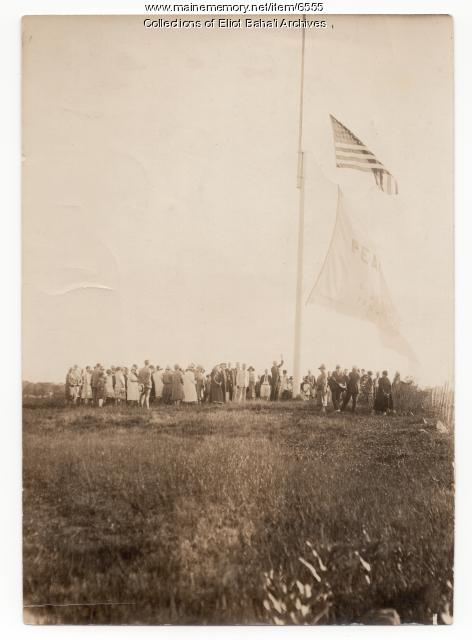 Raising of the Peace Flag at Green Acre, Eliot, 1926