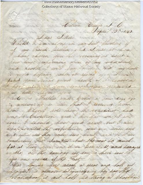 Sgt. William A. Campbell letter from Hilton Head, S.C., 1863