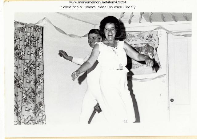 Sheldon Carlson and Josephine Swann dancing, Swan's Island, ca. 1970
