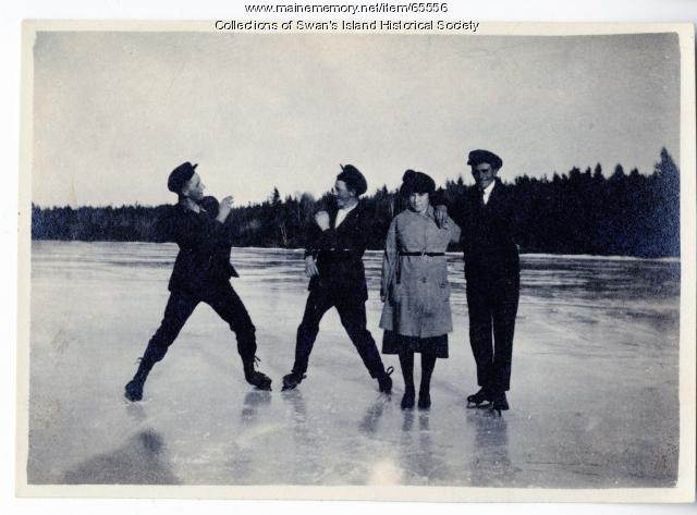 Four skaters on Goose Pond, Swan's Island, ca. 1924