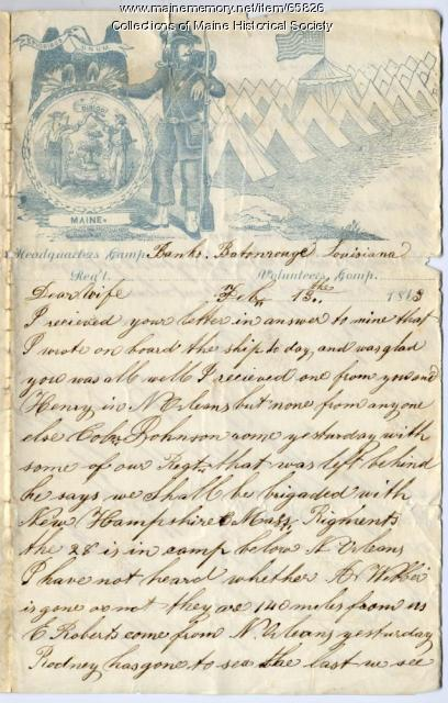 Eben Calderwood to wife, from Baton Rouge, 1863