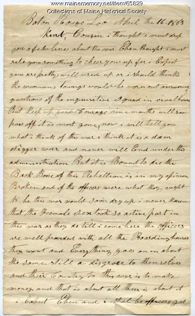 Eben Roberts, 21st Maine, to Mary Calderwood, 1863