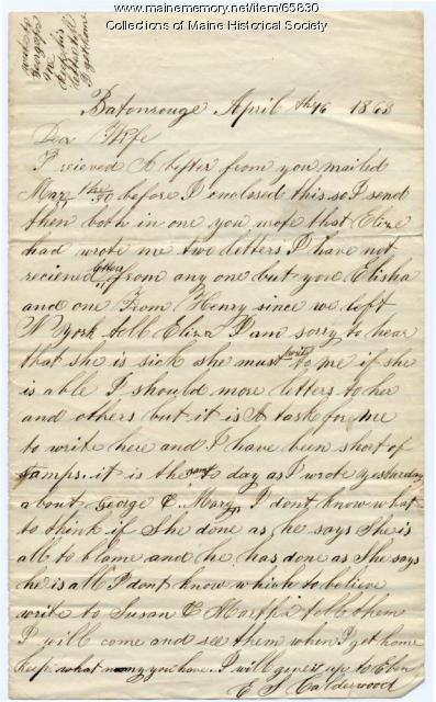 E.S. Calderwood to wife, Baton Rouge, 1863