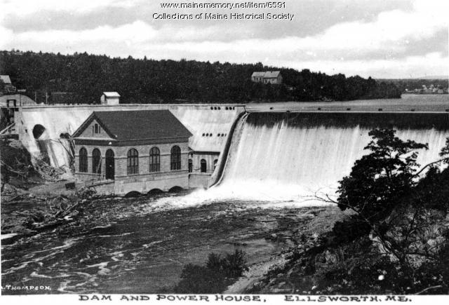 Dam along the Union River, ca. 1930