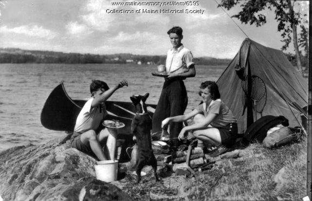 Family camping, Damariscotta Lake, ca. 1950