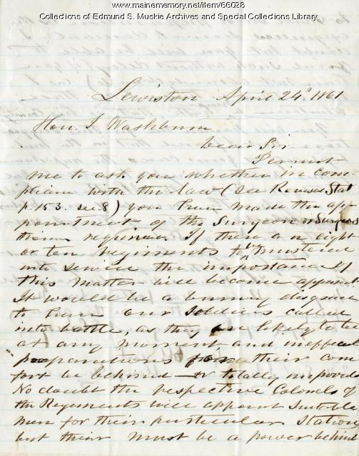 Alonzo Garcelon to Israel Washburn on regimental surgeons, 1861