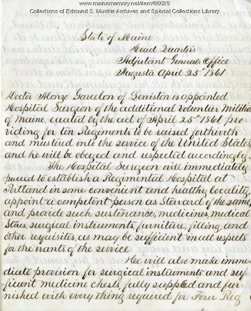 Alonzo Garcelon appointment as Hospital Surgeon, 1861