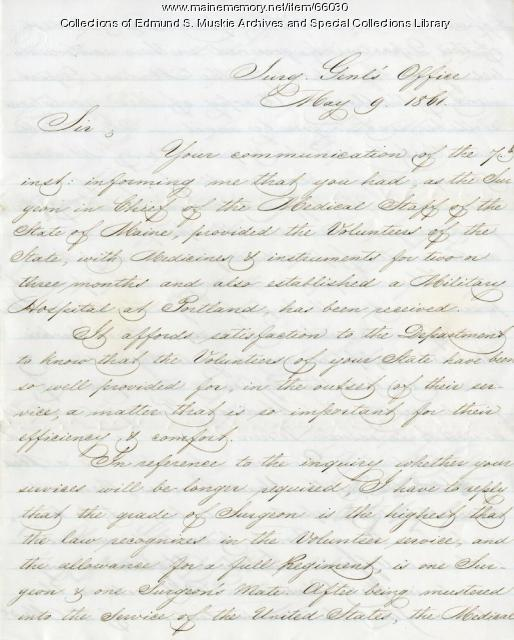 U.S. Surgeon General to Alonzo Garcelon, 1861