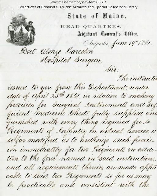 Order for medical supplies for more regiments, Augusta, 1861