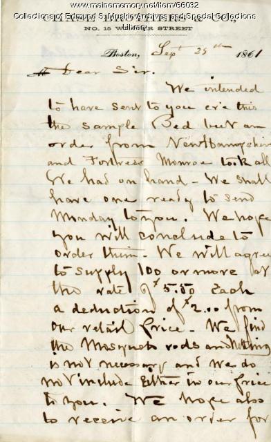Letter concerning hospital beds, Boston, 1861