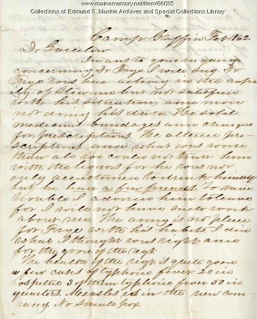 Samuel B. Hunter, 7th Maine, to Alonzo Garcelon, 1862
