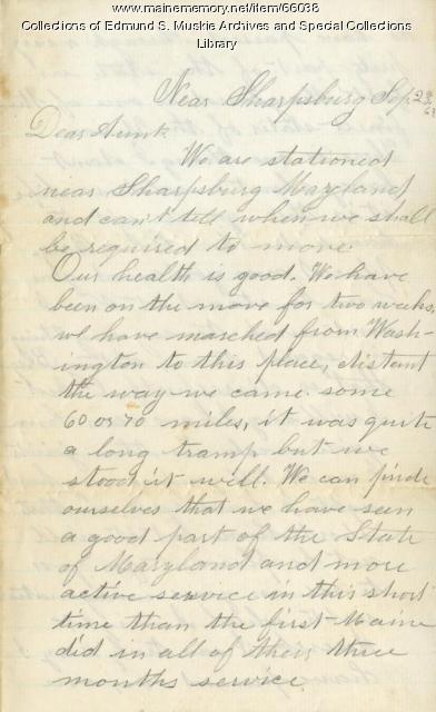 C.A. Garcelon from near Sharpsburg, 1862