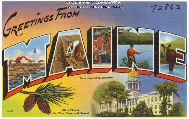 Maine tourist postcard, ca. 1935
