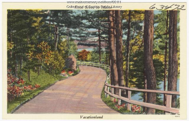 Road scene in Maine, Vacationland, ca. 1930