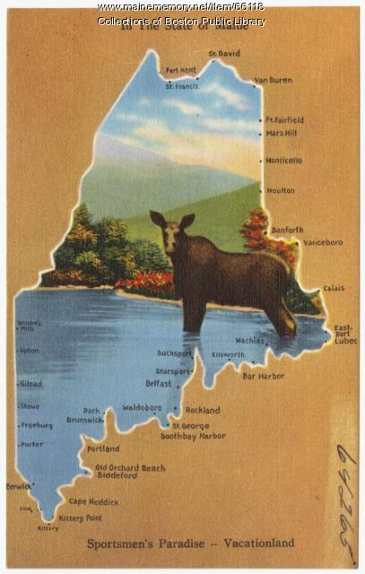 Sportsman's paradise postcard, ca. 1935