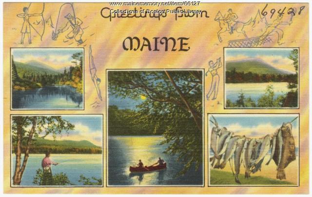Greetings from Maine souvenir postcard, ca. 1935