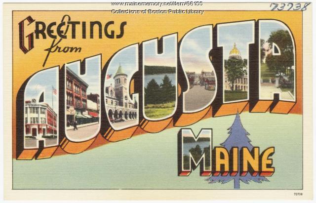 Greetings from Augusta souvenir postcard, ca. 1938