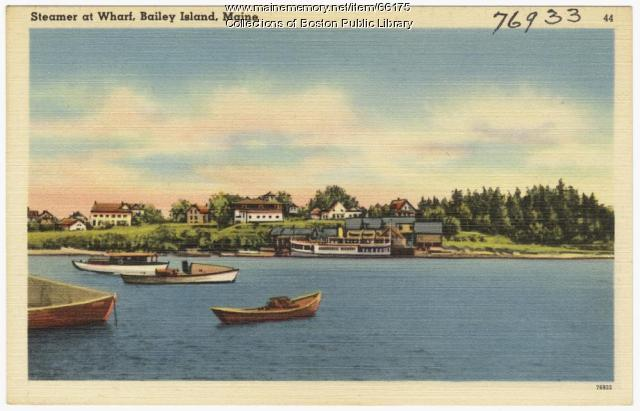 Boats in the harbor, Bailey Island, ca. 1935