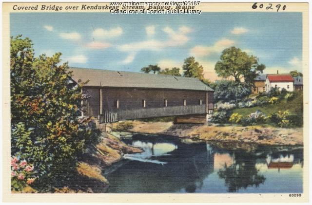 Covered Bridge over Kenduskeag Stream, Bangor, ca. 1935