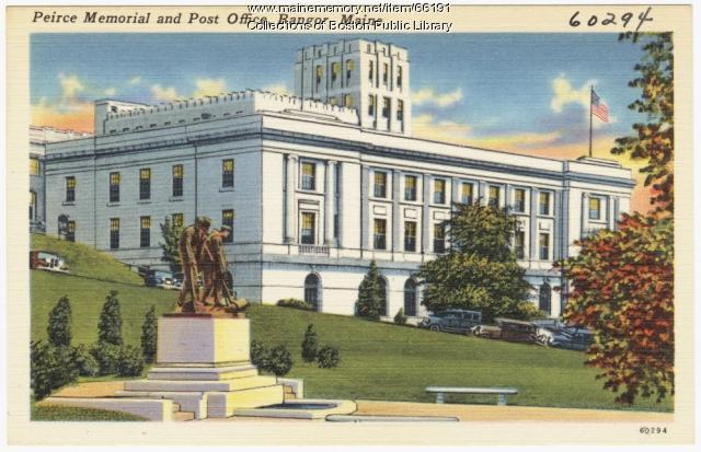 Peirce Memorial and post office, Bangor, ca. 1938