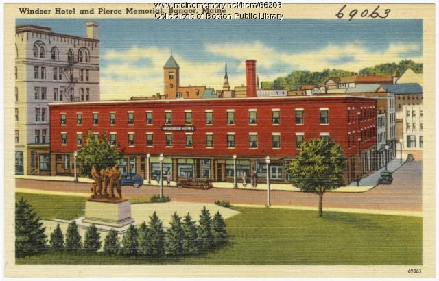 Windsor Hotel and Peirce Memorial, Bangor, ca. 1935