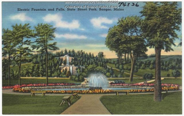 Electric fountain and falls, Bangor, ca. 1935