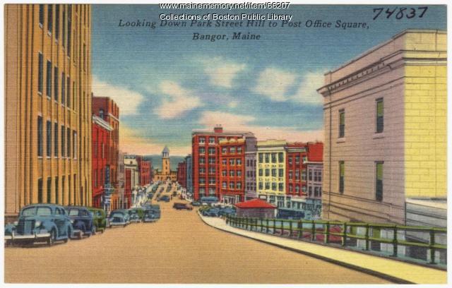 Towards Post Office Square, Bangor, ca. 1938