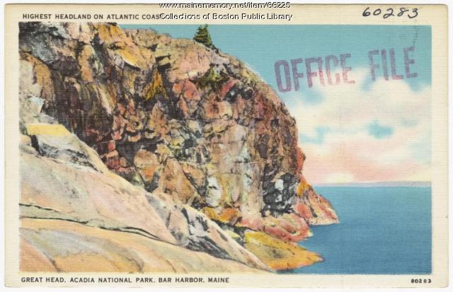 Great Head postcard, Acadia National Park, ca. 1935
