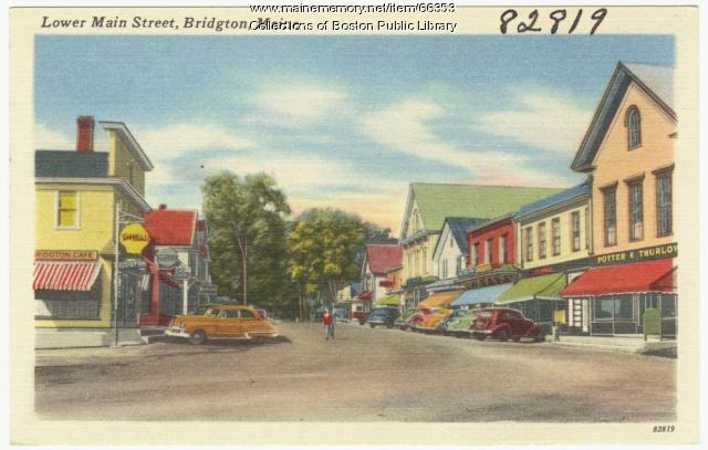 Lower Main Street, Bridgton, ca. 1938