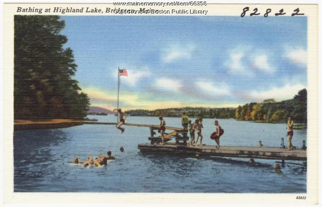 Bathing at Highland Lake, Bridgton, ca. 1938
