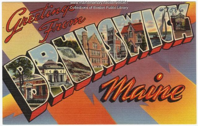 Tourist postcard of Brunswick, ca. 1935