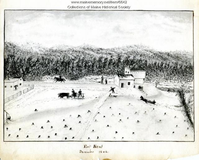 Cartoon of Northeast Boundary dispute