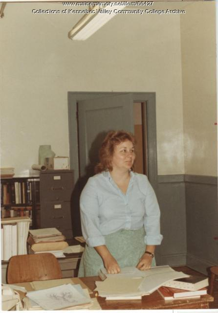 Gilman School's Barbara Larsson in office, Waterville, 1983