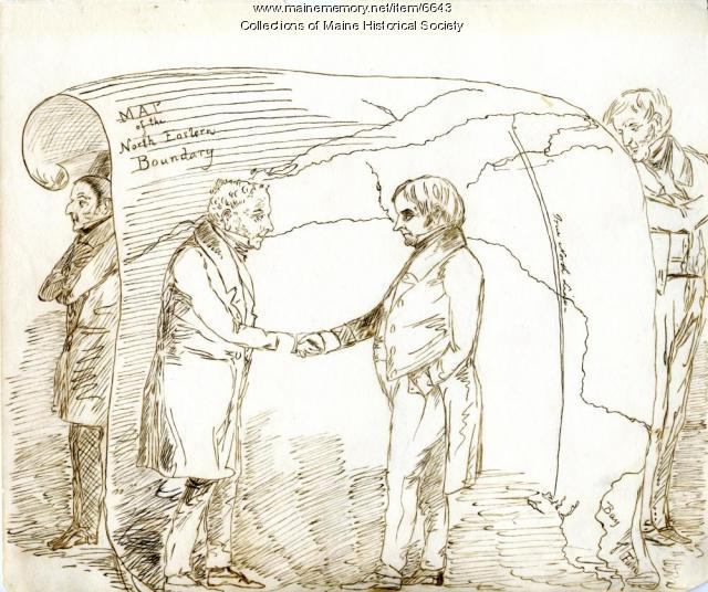 Webster-Ashburton Treaty cartoon, Fort Kent, ca. 1842